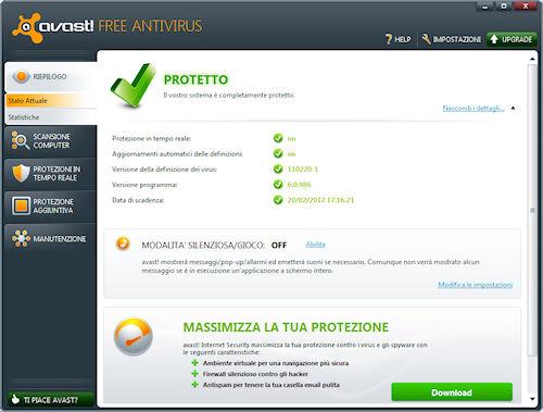 Avast! 6 Free Antivirus: Interfaccia utente