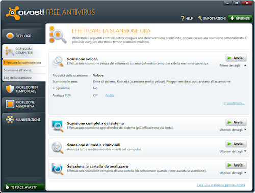 Avast! 6 Free Antivirus: Area scansione computer