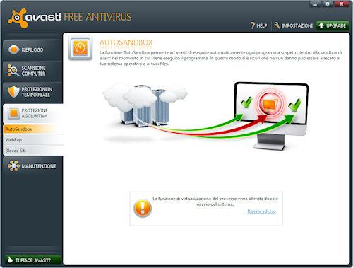 Avast! 6 Free Antivirus: Sezione protezione aggiuntiva