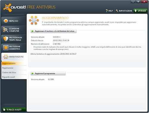 Avast! 6 Free Antivirus: Area manutenzione