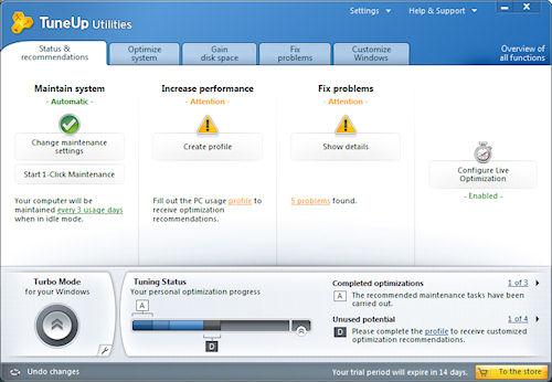 TuneUP Utilities 2011: Finestra principale centro di controllo