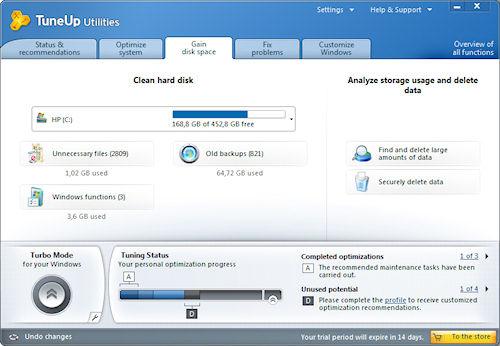 TuneUP Utilities 2011: Scheda per la gestione dei dischi fissi