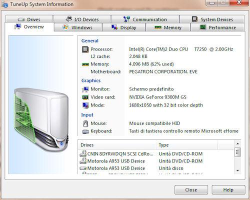 TuneUP Utilities 2011: Report sulle specifiche hardware e software di sistema