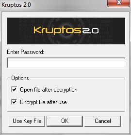 Kruptos 2 Professional: Pannello decifratura file