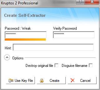 Kruptos 2 Professional: Pannello creazione file autoestraente