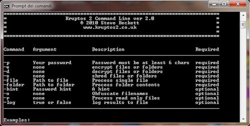 Kruptos 2 Professional: Console in modo testo