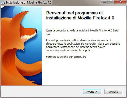 Firefox 4: Installazione