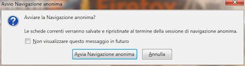 Firefox 4: Opzione di attivazione navigazione anonima