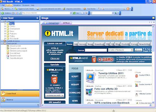 RSS Bandit: Esempio di pagina gestita con il browser integrato