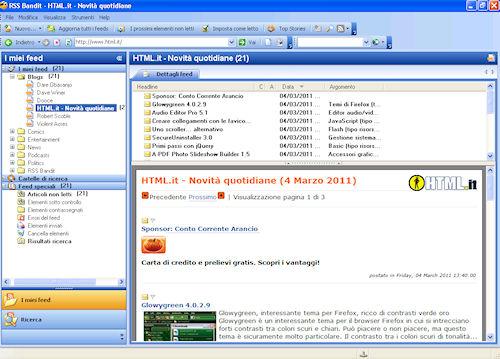 RSS Bandit: Esempio di sottoscrizione feed
