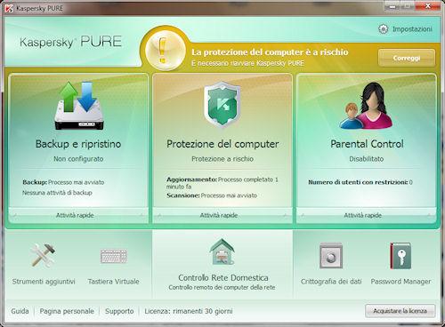 Kaspersky PURE: Interfaccia utente