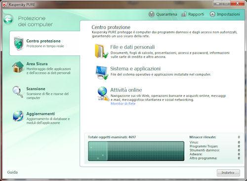 Kaspersky PURE: Centro protezione del computer
