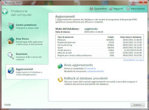 Kaspersky PURE: Sezione gestione aggiornamenti