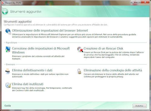Kaspersky PURE: Area strumenti aggiuntivi