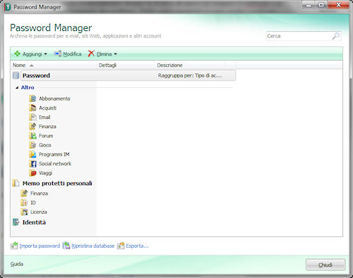 Kaspersky PURE: Pannello password manager