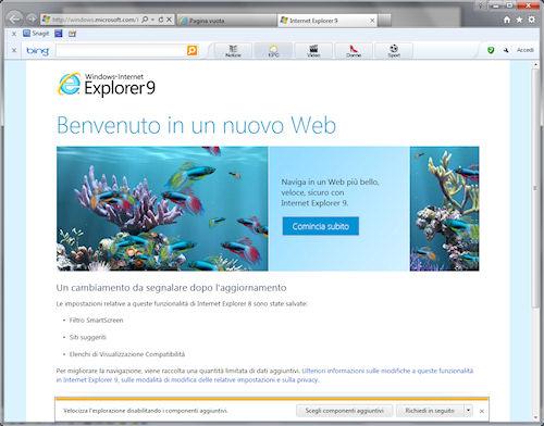 Internet Explorer 9: Interfaccia utente