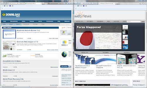 Internet Explorer 9: Funzione snap: esempio di affiancamento di due pagine web