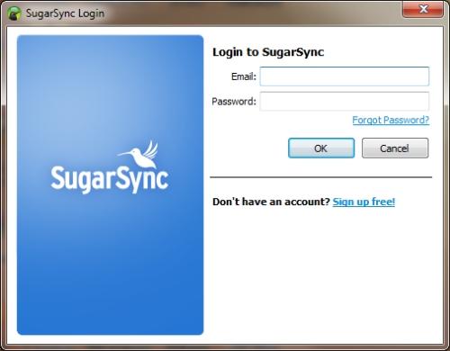 SugarSync: Finestra richiesta email e password account