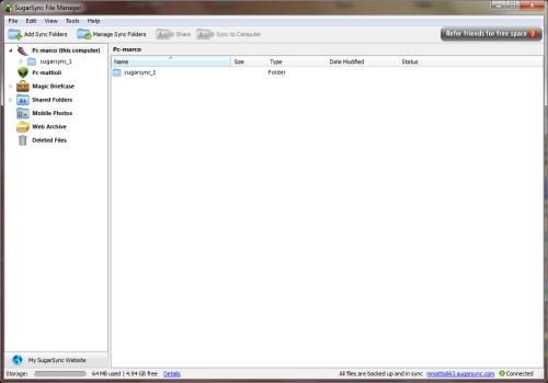 SugarSync: Finestra file manager