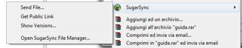 SugarSync: Menu contestuale condivisione file e cartelle
