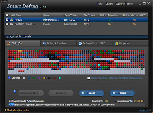 Smart Defrag 2: Interfaccia