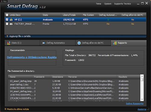 Smart Defrag 2: Scheda rapporto analisi e deframmentazione