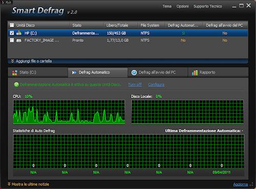 Smart Defrag 2: Scheda gestione defrag automatico