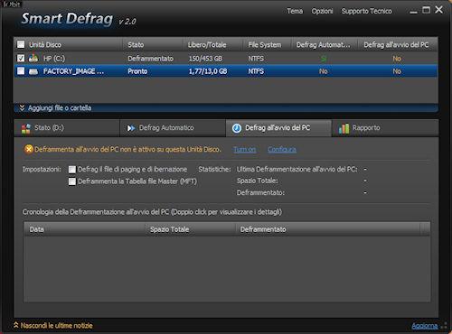 Smart Defrag 2: Scheda defrag all'avvio del PC
