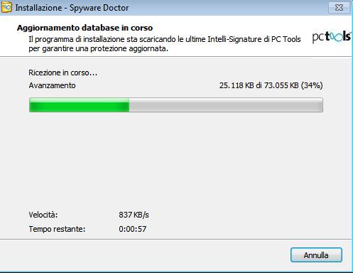 Spyware Doctor 2011: Aggiornamento archivio