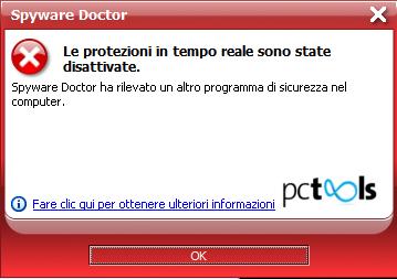 Spyware Doctor 2011: Notifica disattivazione protezione