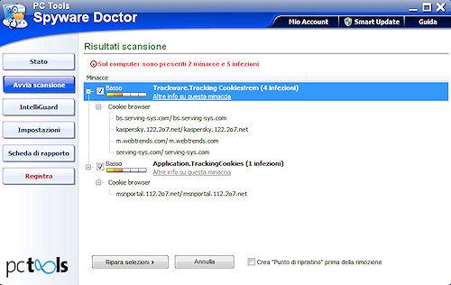 Spyware Doctor 2011: Risultati prima scansione
