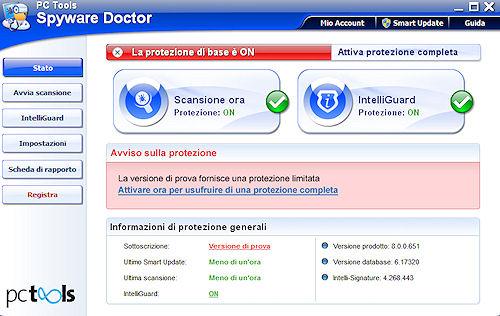 Spyware Doctor 2011: Interfaccia utente