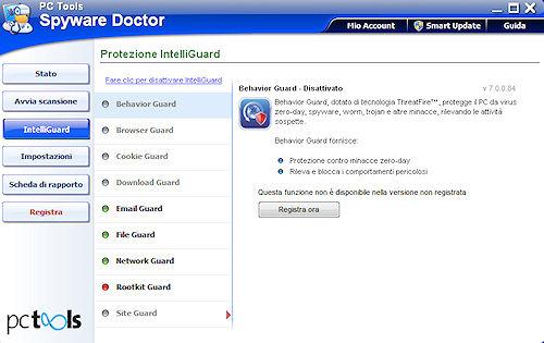 Spyware Doctor 2011: Scheda protezione Behaviour Guard