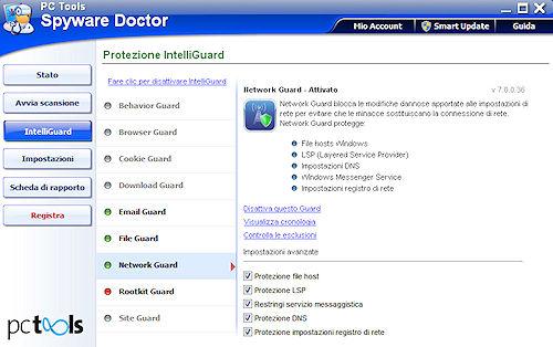 Spyware Doctor 2011: Scheda protezione Network Guard