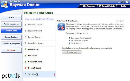Spyware Doctor 2011: Scheda protezione Site Guard