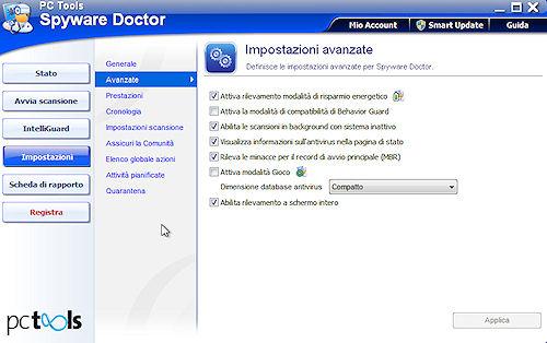 Spyware Doctor 2011: Sezione impostazioni avanzate