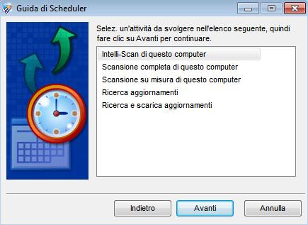 Spyware Doctor 2011: Procedura guidata pianificazione attività