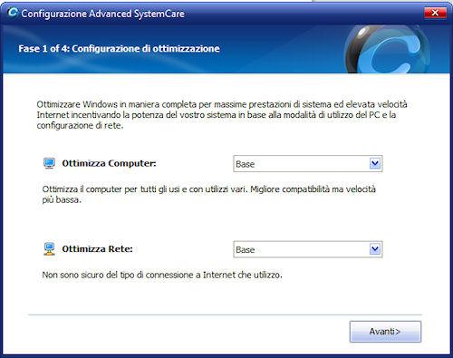 Advanced System Care 4: Configurazione guidata di ottimizzazione