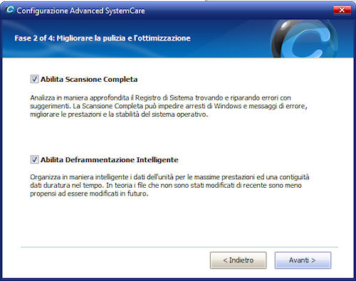 Advanced System Care 4: Abilitazione scansione completa e deframmentazione intelligente