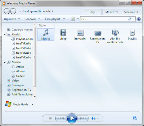 Windows Media Player 12: Interfaccia
