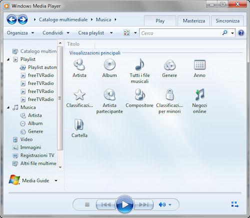 Windows Media Player 12: Esempio di visualizzazioni principali sezione musicale