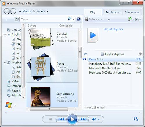 Windows Media Player 12: Esempio di creazione playlist