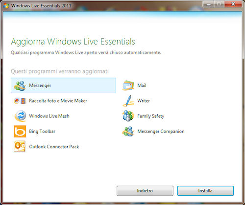 Windows Live Essentials 2011: Installazione Messenger 2011