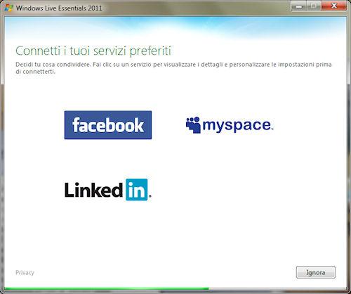 Windows Live Essentials 2011: Collegamento con servizi di rete sociale