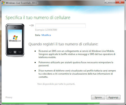 Windows Live Essentials 2011: Finestra per inserire un numero di cellulare