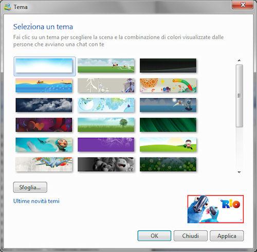 Windows Live Essentials 2011: Pannello selezione tema di personalizzazione