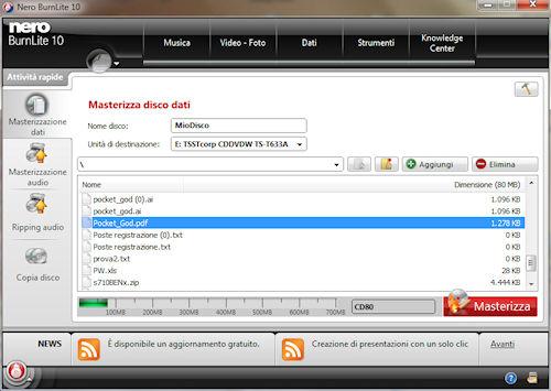 Nero BurnLite 10: Finestra masterizzazione disco dati