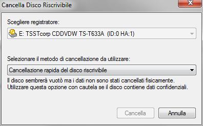 Nero BurnLite 10: Strumento cancellazione disco rimovibile