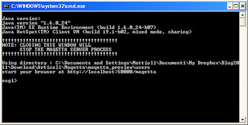 Maqetta: attivazione del server