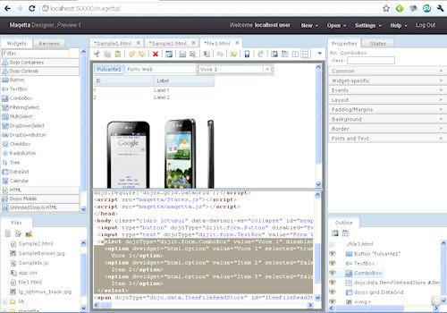 Maqetta: Esempio di visualizzazione mista codice sorgente e anteprima pagina